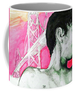 Coffee Mug featuring the painting Bay Bridge Anf Figure In Red by Rene Capone