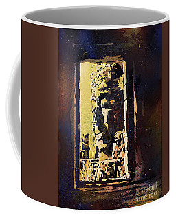 Coffee Mug featuring the painting Bayon IIi- Cambodian Ruins, Angkor Wat by Ryan Fox