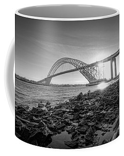 Bayonne Bridge Black And White Coffee Mug by Michael Ver Sprill