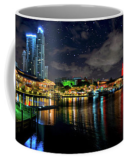 Bayside Miami Florida At Night Under The Stars Coffee Mug by Justin Kelefas