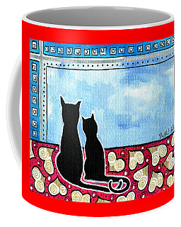Coffee Mug featuring the painting Be My Valentine - Black Cat Card by Dora Hathazi Mendes