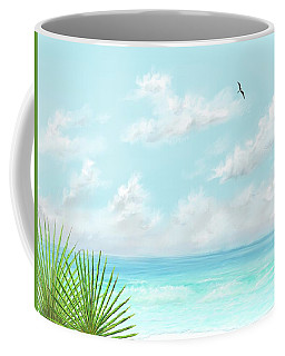 Coffee Mug featuring the digital art Beach And Palms by Darren Cannell
