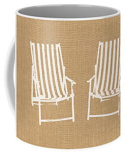 Beach Chairs On Burlap- Art By Linda Woods Coffee Mug