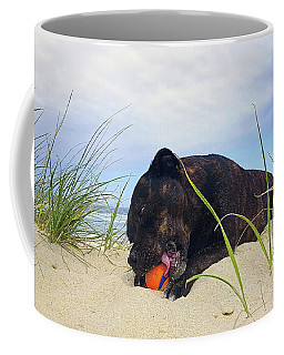 Coffee Mug featuring the photograph Beach Dog - Rest Time By Kaye Menner by Kaye Menner