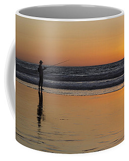 Beach Fishing At Sunset Coffee Mug