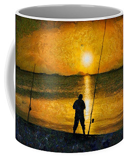 Coffee Mug featuring the photograph Beach Fishing  by Scott Carruthers