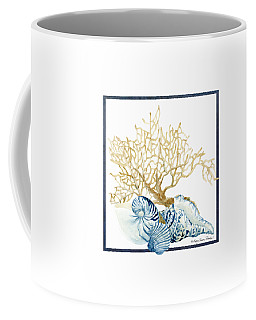 Beach House Nautilus Scallop N Conch With Tan Fan Coral Coffee Mug