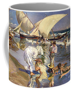 Coffee Mug featuring the painting Beach Of Valencia By Morning Light by Joaquin Sorolla Y Bastida