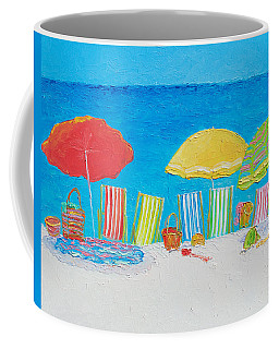 Beach Painting - Deck Chairs Coffee Mug by Jan Matson