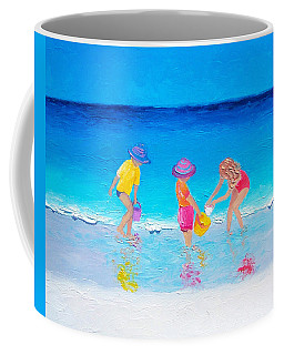 Beach Painting - Water Play  Coffee Mug by Jan Matson