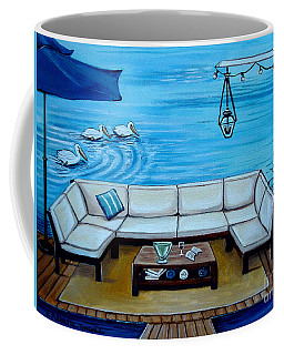 Coffee Mug featuring the painting Beach Picnic by Elizabeth Robinette Tyndall
