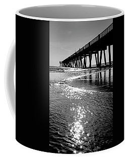 Beach Pier Black And White Coffee Mug