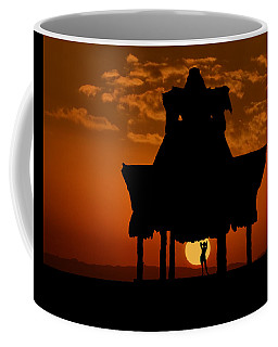 Coffee Mug featuring the photograph Beach Shelter At Sunset by Joe Bonita