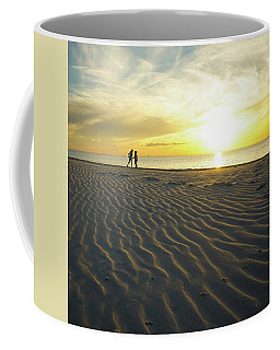 Beach Silhouettes And Sand Ripples At Sunset Coffee Mug