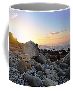 Beach Sunrise Over Rocks Coffee Mug