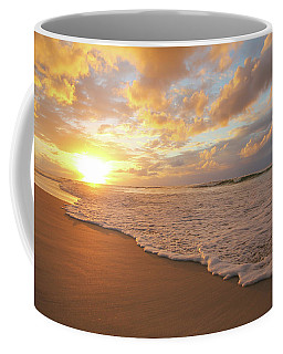 Beach Sunset With Golden Clouds Coffee Mug