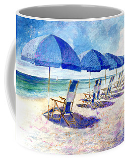 Coffee Mug featuring the painting Beach Umbrellas by Andrew King