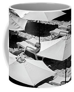 Coffee Mug featuring the photograph Beach Umbrellas by Marion McCristall