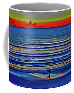 Beach Walking At Sunrise Coffee Mug