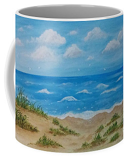 Coffee Mug featuring the painting Beach Waves by Sonya Nancy Capling-Bacle
