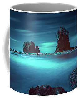 Coffee Mug featuring the photograph Beach With Sea Stacks In Moody Lighting by William Lee