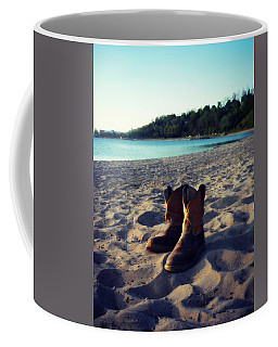 Coffee Mug featuring the painting Beached Boots by Cyryn Fyrcyd