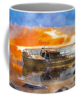 Coffee Mug featuring the painting Beached Wreck by Mark Taylor
