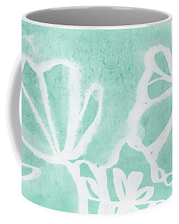 Coffee Mug featuring the mixed media Beachglass And White Flowers 2- Art By Linda Woods by Linda Woods