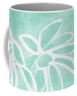 Coffee Mug featuring the mixed media Beachglass And White Flowers 3- Art By Linda Woods by Linda Woods
