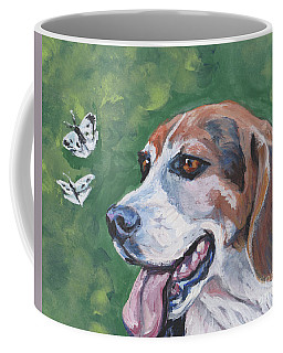 Coffee Mug featuring the painting Beagle And Butterflies by Lee Ann Shepard