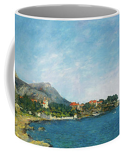 Coffee Mug featuring the painting Bealieu - The Bay Of Fourmis by Eugene Boudin