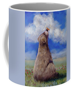 Coffee Mug featuring the pastel Bear And Butterfly by Billie Colson