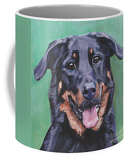 Coffee Mug featuring the painting Beauceron Portrait by Lee Ann Shepard