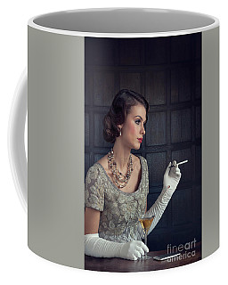 Beautiful 1930s Woman With Cocktail And Cigarette Coffee Mug