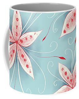 Beautiful Abstract White Red Flowers Coffee Mug