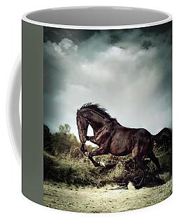 Beautiful Black Stallion Horse Running On The Stormy Sky Coffee Mug