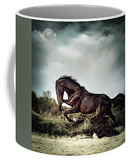 Beautiful Black Stallion Horse Running On The Stormy Sky Coffee Mug