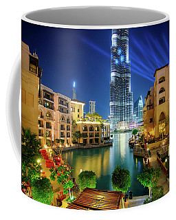 Beautiful Downtown Area In Dubai At Night, Dubai, United Arab Emirates Coffee Mug