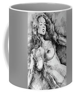 Beautiful Girl Close Up Standing Pose Art Drawing Coffee Mug