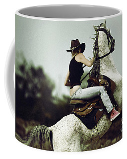 Beautiful Girl Ridingwhite Horse Coffee Mug