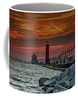 Sunset At Grand Haven Pier Coffee Mug