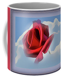 Beautiful Red Rose Cuddled By Cumulus Coffee Mug
