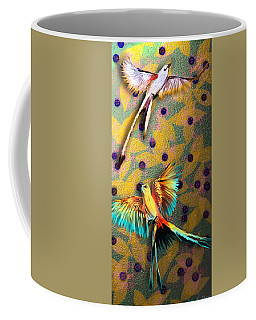 Coffee Mug featuring the digital art Beautiful Scissor-tailed Flycatchers by Iowan Stone-Flowers