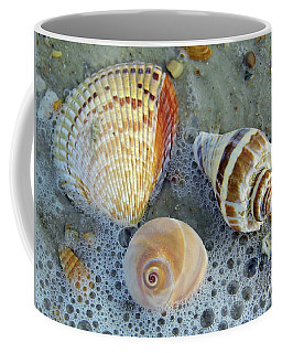 Beautiful Shells In The Surf Coffee Mug by D Hackett