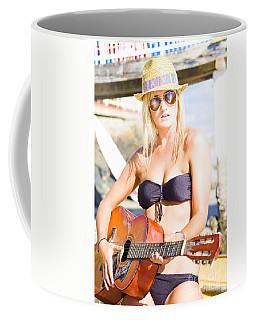 Beautiful Sunglasses Girl Playing Guitar Outdoors Coffee Mug