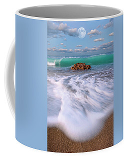 Beautiful Waves Under Full Moon At Coral Cove Beach In Jupiter, Florida Coffee Mug