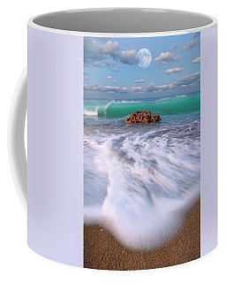Coffee Mug featuring the photograph Beautiful Waves Under Full Moon At Coral Cove Beach In Jupiter, Florida by Justin Kelefas