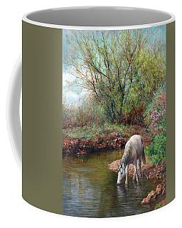 Beautiful White Horse And Enchanting Spring Coffee Mug