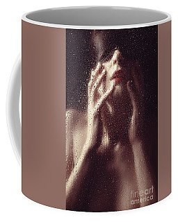 Beautiful Woman Photographed Behind A Window With Rain Drops Coffee Mug