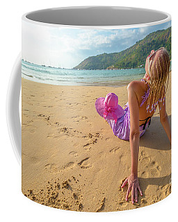 Beautiful Woman Sunbathing On Beach Coffee Mug